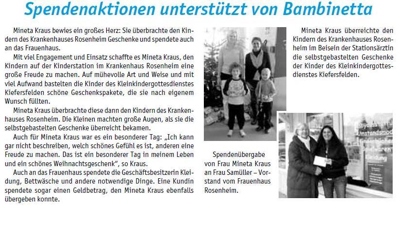 Spendenaktion unterstützt von Bambinetta